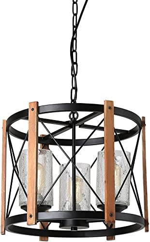 Eumyviv Wood Farmhouse Rustic Chandelier with Crack Finish Glass Shade, 3 Lights Vintage Industrial Hanging Light for Dinning Room, C0030