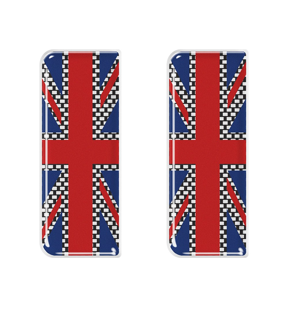 Union Jack Chequered Flag Number Plate Decals