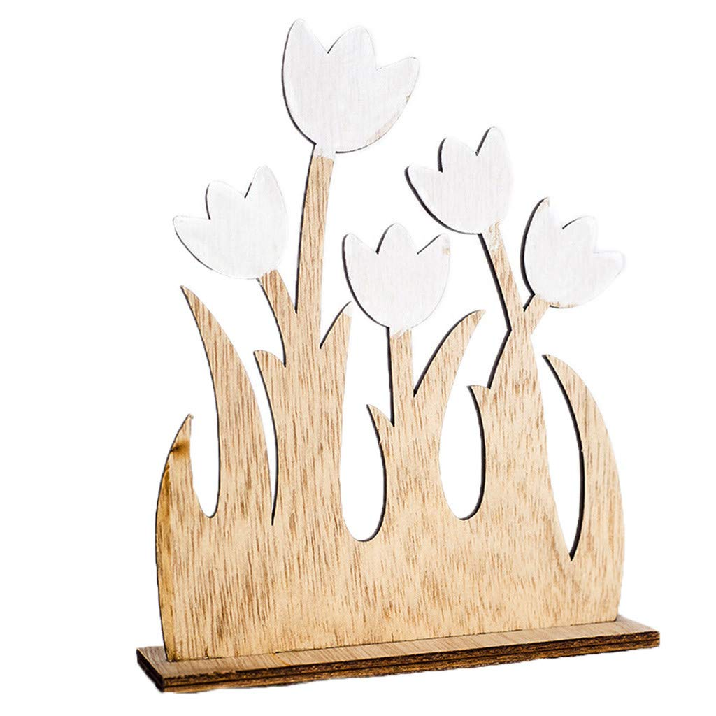 Geetobby Easter Decoration Natural Wooden Garden Flower Ornaments for Home Party Gifts for Friend