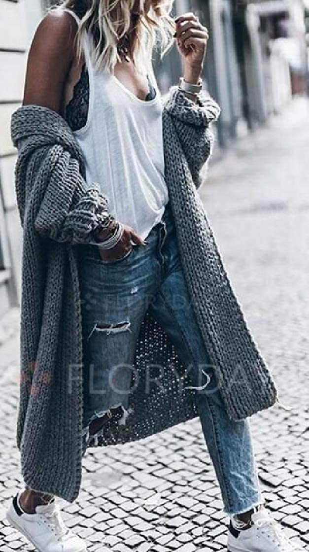 M/&S/&W Womens Batwing Knitted Outerwear Loose Coat Sweaters Long Cardigans