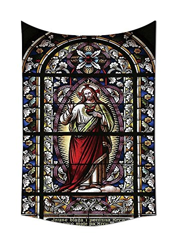 (Sacred Heart of Jesus Pictures for Living Room Decoration Catholic Gifts Believe Art Christian Wall Decor Church Cathedral Window View Wall Hanging Silky Satin Tapestry Red Black White Blue (2) )