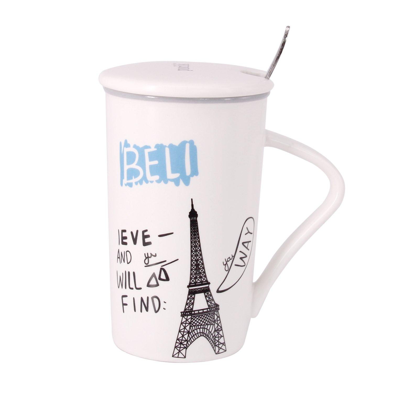 エッフェル塔デザインコーヒーミルクティーマグカップ蓋、スプーンステンレススチールspoon-perfectノベルティギフト。 B07BQP33D1