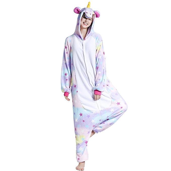 508365803d9 Adulto Unisex Franela Unicornio Animal Onesies Pijamas OnePiece Cosplay  (estrella, L)