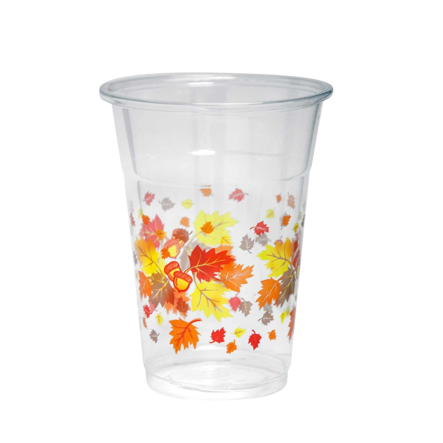 Party Essentials 20 Count Soft Plastic Printed Party Cups, 16-Ounce, Autumn Leaves