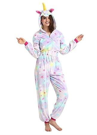 Unicornio Pijamas Animal Cosplay ropa de dormir Traje Jumpsuit Unisex Adult Loungewear (estrella, S
