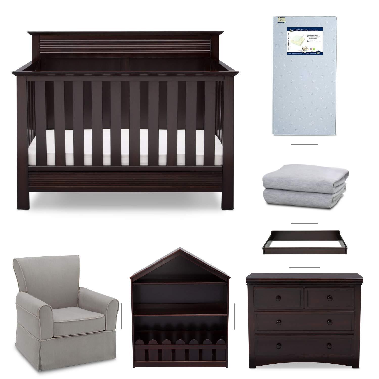 Crib Furniture 7 Piece Nursery Set With Crib Mattress Convertible Crib Dresser Bookcase Glider Chair Changing Top Crib Sheets Serta Fall