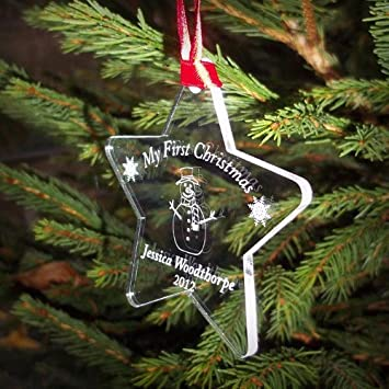 Engraved My First Christmas Bauble Tree Decorations Babys 1st