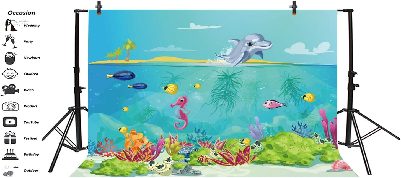 5x4FT Underwater Sealife Backdrop Photography Background 3D Tropical Fish Birthday Party Backdrop Aquarium Summer Camp Baby Shower Photo Portrait Vinyl Video Studio Prop