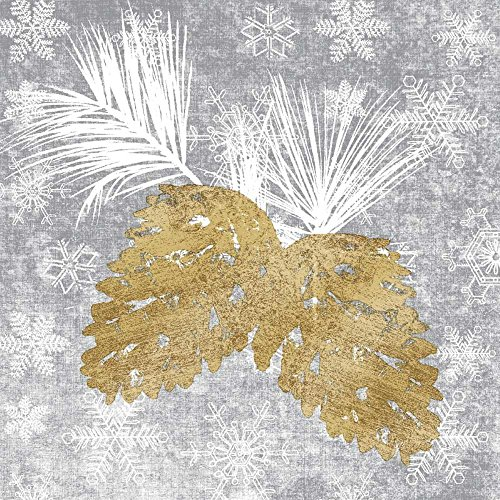 Pinecone Tableware - Paperproducts Design PPD 3252540 Holiday Pinecones Beverage/Cocktail Paper Napkins, 5