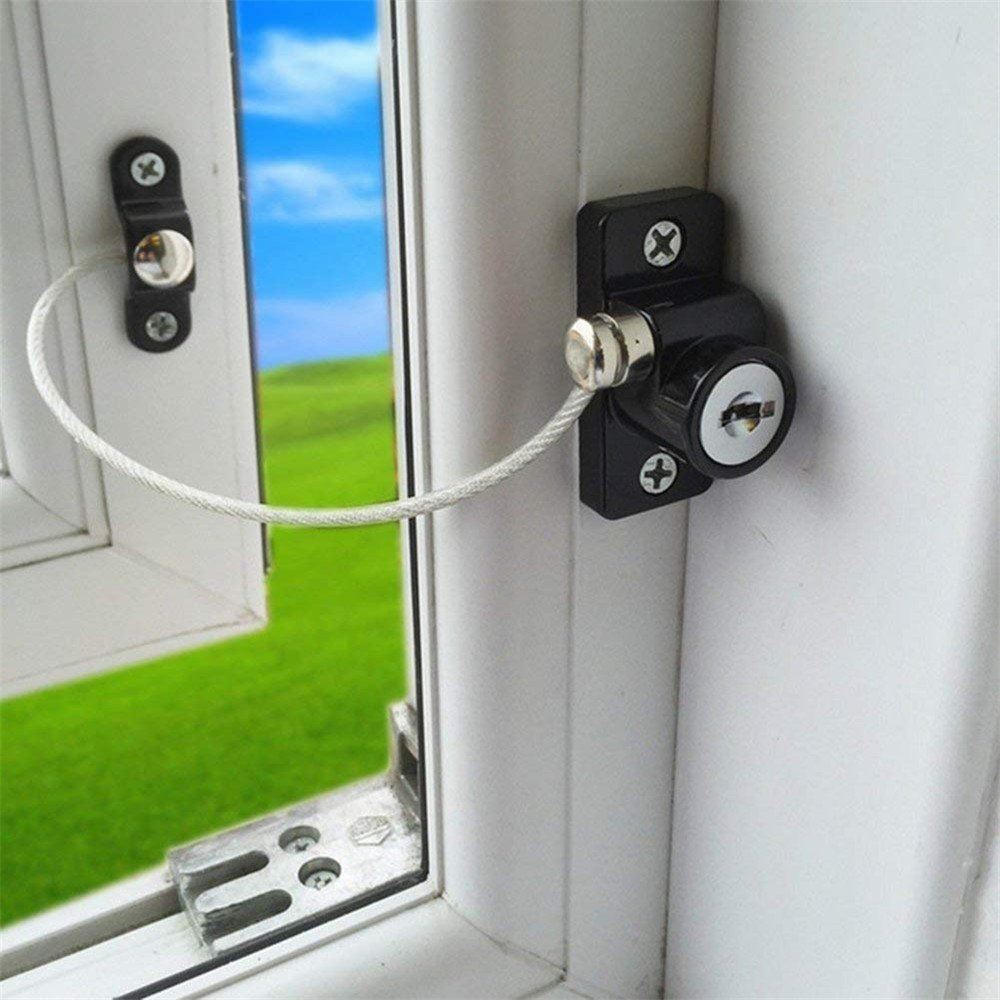 Black Crylee White Window Door Restrictor Safety Locking UPVC Child Baby Security Wire CableSavior Crash Pad Stopper Wall Protectors Handle Safety babies childs kids