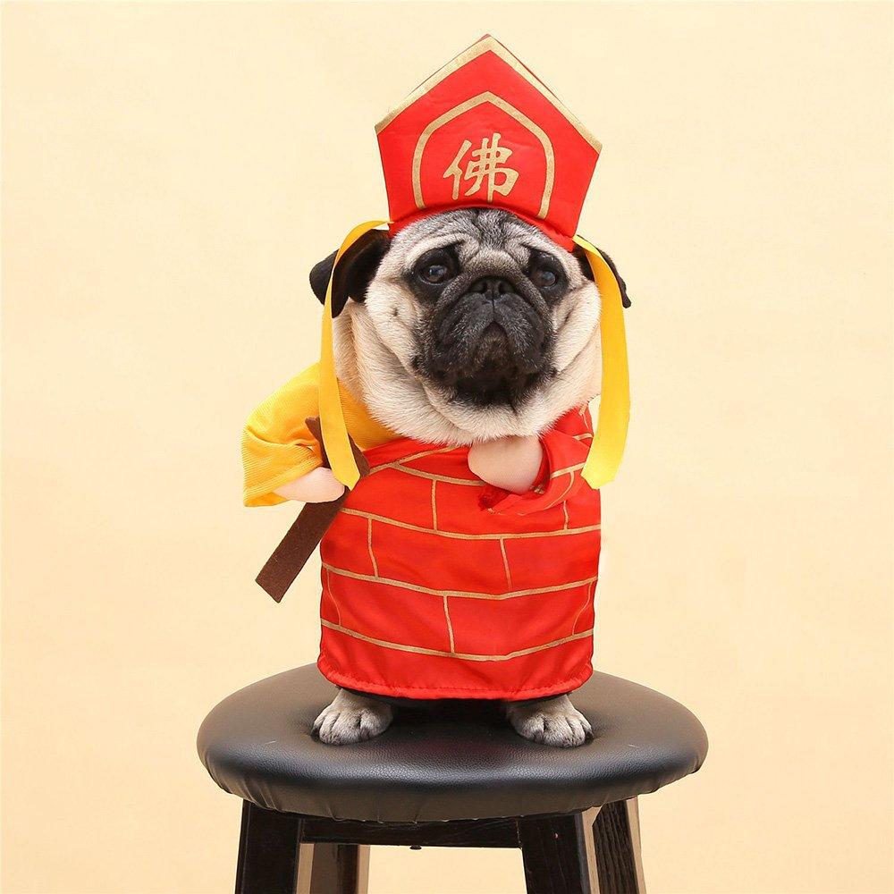 Amazon.com: Divertido perro gato Buda disfraces Tang Monje ...