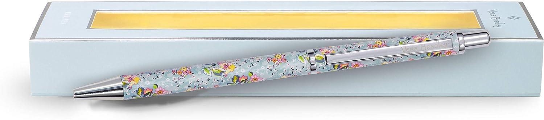 Vera Bradley Black Ink Ballpoint Pen with Gift Box, Blue Floral Pen Accepts Standard Refills, Floating Garden