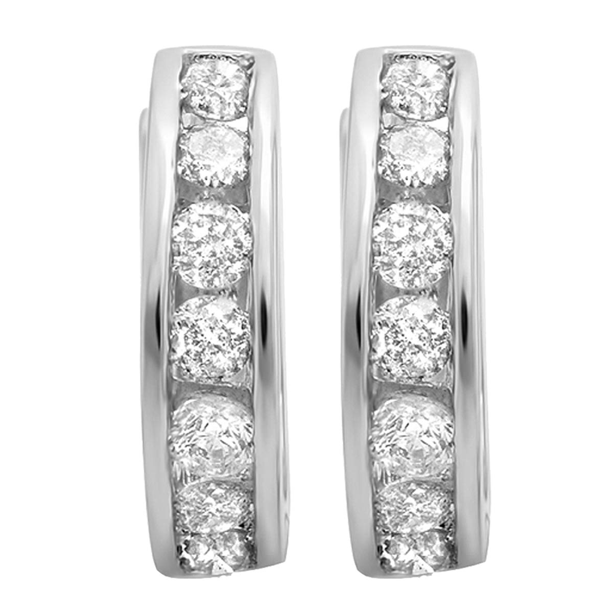 Dazzlingrock Collection 0.50 Carat (ctw) 10K Round Diamond Ladies Mens Unisex Huggie Hoop Earrings 1/2 CT, White Gold by Dazzlingrock Collection (Image #2)