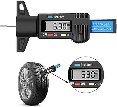 Okminiok Digitaler Reifenprofil Tiefenmessgerät Mit Zoll Mm Umrechnung Messbereich 0 1 Zoll 25 4 Mm Für Pkw Lkw Suv Auto