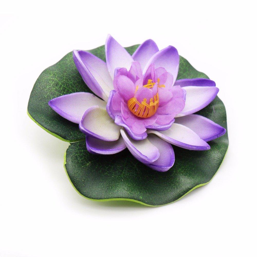Kentop Nymphaea Simulation de Plantes Aquatiques en Plastique avec Fleur de Lotus, Plastique, Orange, 10 cm