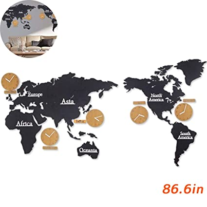 Amazon.com: TINTON LIFE DIY Simple Wooden World Map World Time