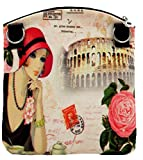 Casual Women Canvas Sophisticated Small Handbag (Pink Roses And Hats)