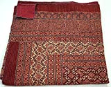 Cotton Indian Quilt Kantha Throw Ralli Gudri, Handmade Ajrakh Kantha Quilt 90x60 Inch,