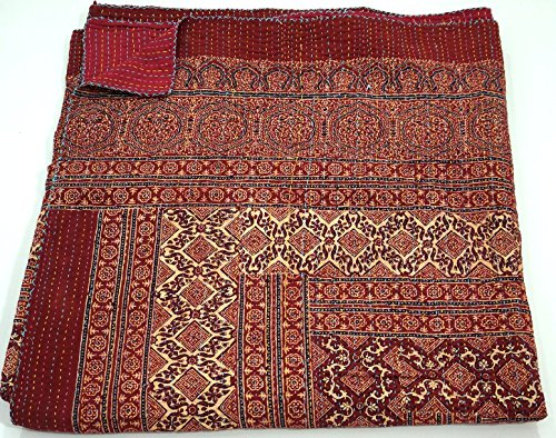 Cotton Indian Quilt Kantha Throw Ralli Gudri, Handmade Ajrakh Kantha Quilt 90x60 Inch, by The Ethnic Crafts (Image #4)