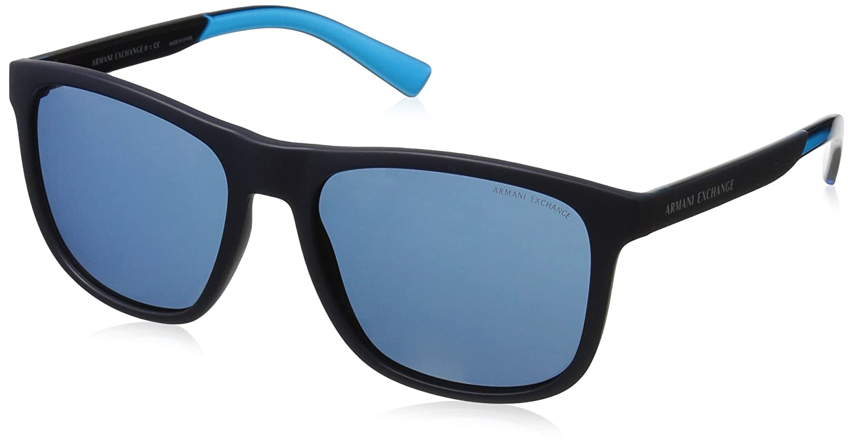 Armani Exchange Men's Injected Man Square Sunglasses Matte Black 57 mm 0AX4049S