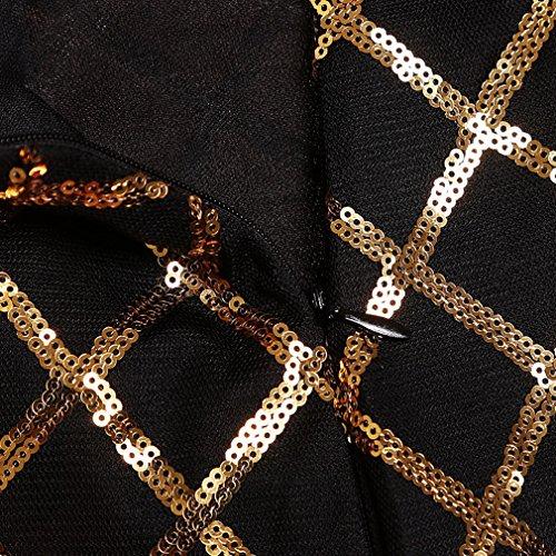 EOZY Or Robe Maxi Sans Manche Sirène Col V Décolleté Dos Nu Fendue Femme