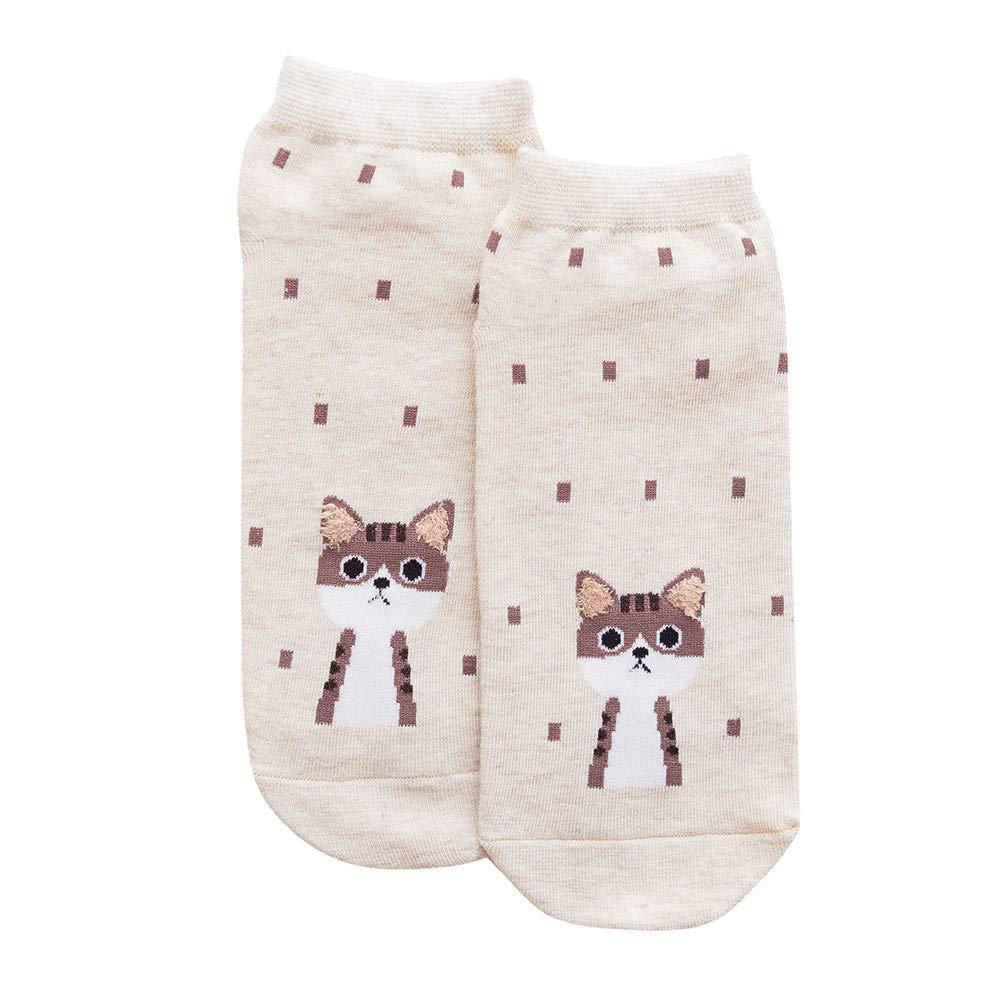 Oldeagle 1 Pair Women Cute Dot Cat Winter Cotton Warm Socks Home Soft Socks (White)