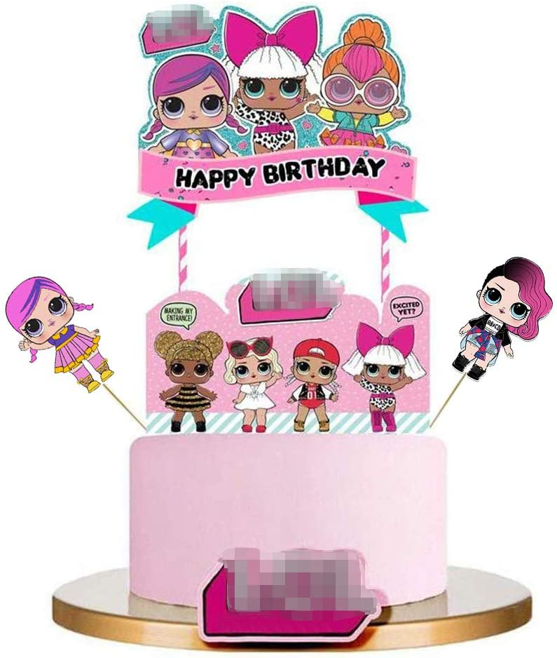 LOL Cake Topper, LOL Happy Birthday Cake Topper, LOL Party Supplies, LOL Pink Cake Decorations for Girl Theme Party - 1Set