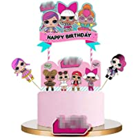 LOL Cake Topper, LOL Happy Birthday Cake Topper, LOL Party Supplies, LOL Pink Cake Decorations for Girl Theme Party…