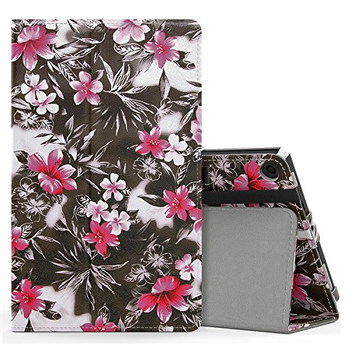 MoKo Case for All-New Amazon Fire HD 8 Tablet (7th Generation, 2017 Release Only) - Slim Folding Stand Cover for Fire HD 8, Black & Pink Flower (with Auto Wake / Sleep)