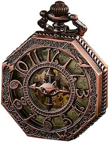 ALPS Pocket Watch Mens Steampunk Bronze Skeleton Automatic Mechanical Pocket Watchs Hand Wind (Rose Gold)