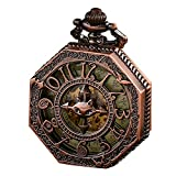 Pocket Watch,Retro Copper Classic Skeleton Steampunk Mechanical Roman Numeral Pocket Watch