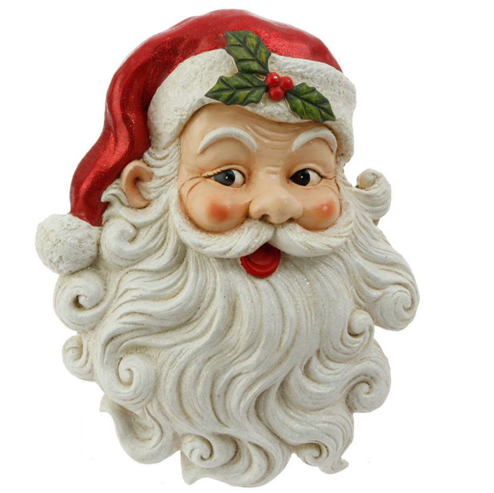 Jolly Santa Claus Face with Glittered Beard Christmas Wall Hanging Plaque, 17.5 inch x 14 inch by Raz