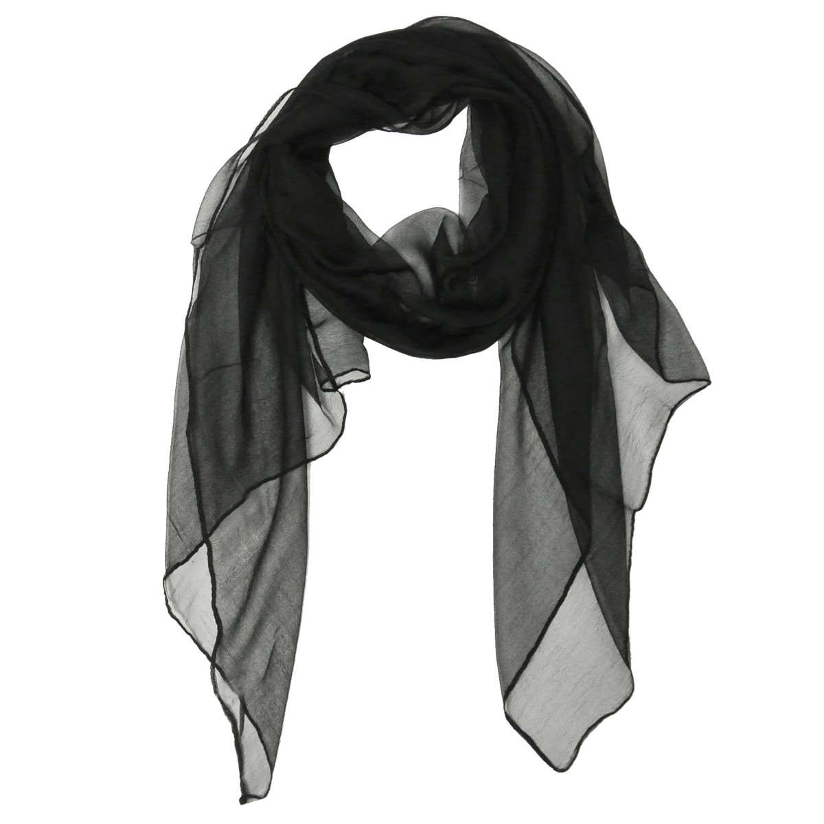 Wrapables Solid Color 100% Silk Long Scarf, Black,One Size by Wrapables