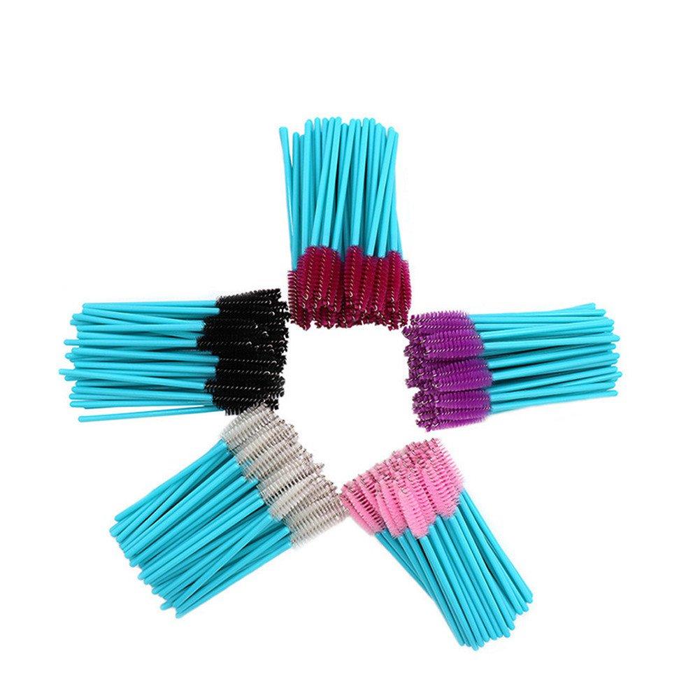 250 Pack Multicolor Disposable Mascara Wands Bulk for Extension Eyelash/Brow Brushes Makeup Brush Tool Kit, 5 Colors