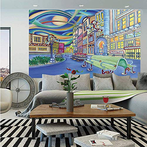 SoSung Abstract Home Decor Wall Mural,Seattle Downtown Modern City Colorful Design Art Oil Painting Effect Decorative,Self-Adhesive Large Wallpaper for Home Decor 83x120 inches,