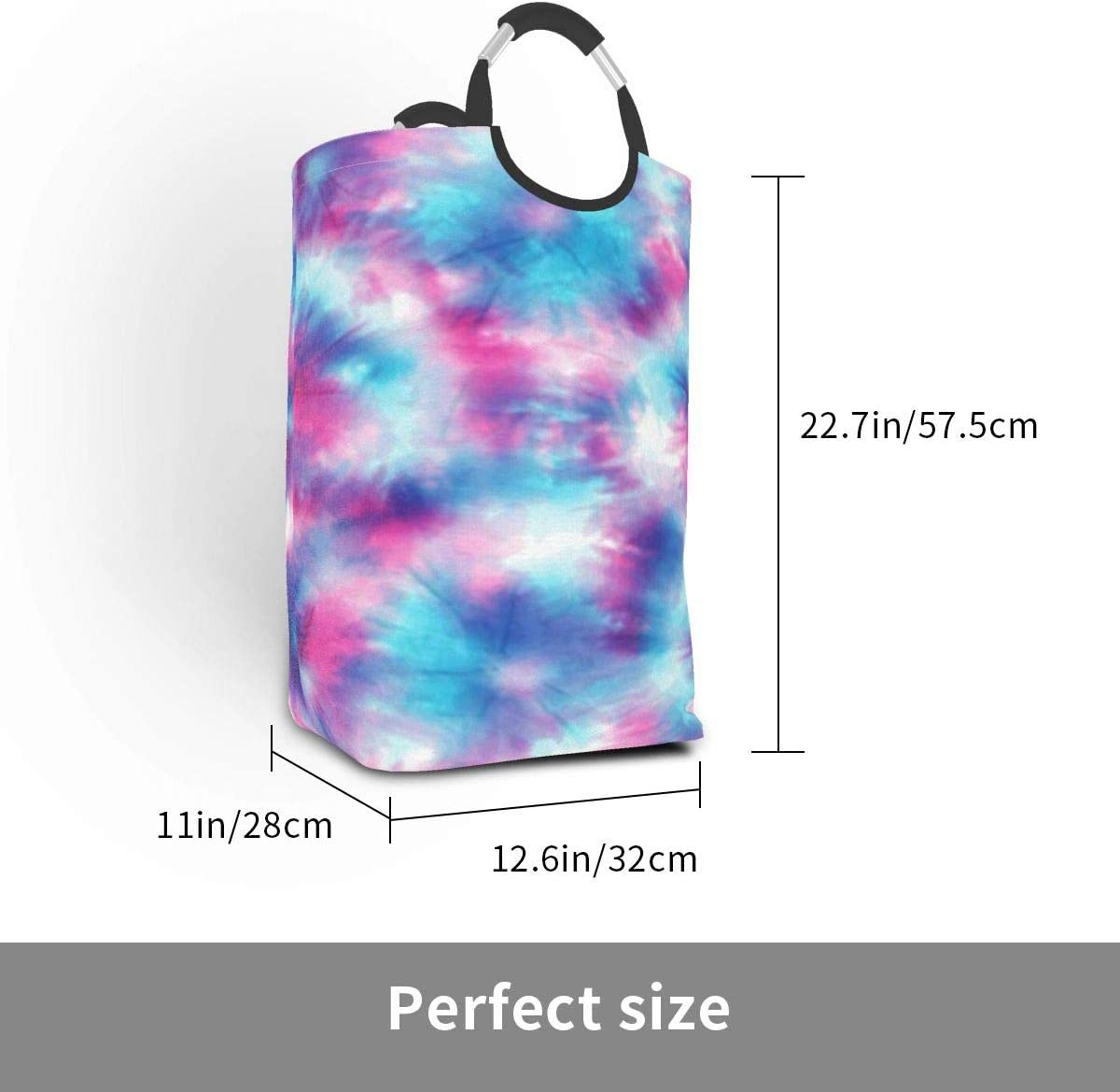 Laundry Hamper Abstract Tie Dye Art Laundry Basket Dirty Clothes Bag Rainbow Scales Magic Stars Foldable Bucket Washing Bin Toys Storage Organizer for College Dorms Kids Bedroom,Bathroom
