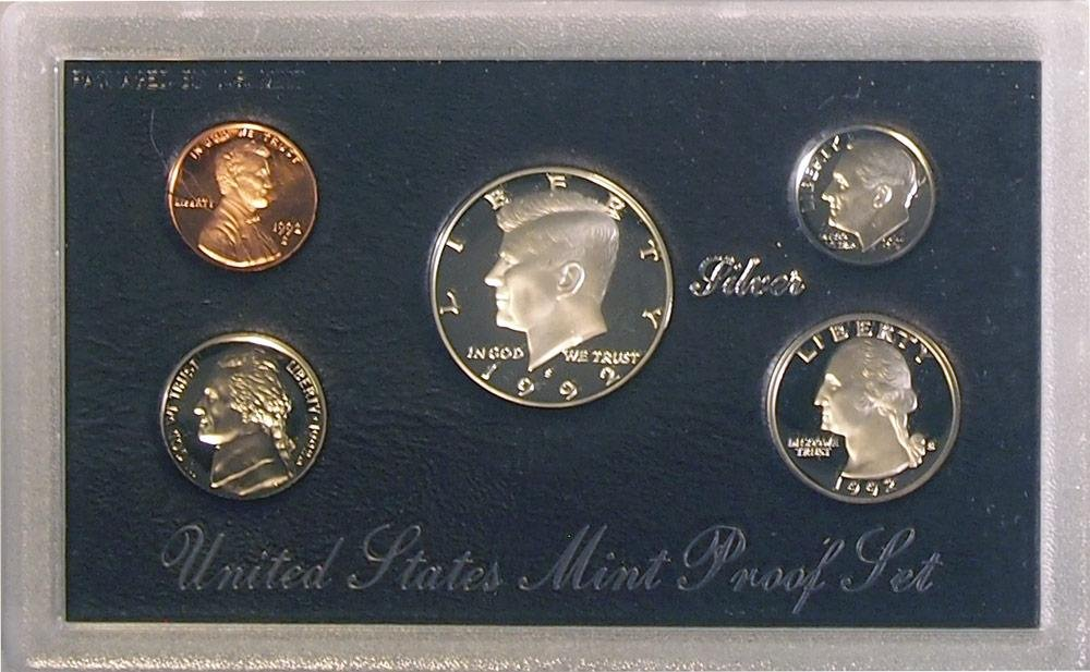 1992 US Mint Silver 5 Coin Proof Set w// Original Box ~ Free Shipping