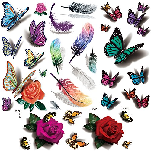 Flowers Temporary Tattoos for women sexy 8 Pcs by Yesallwas,LargeTattoo Sticker Fake Tattoos for kids girls teens,waterproof and Long Lasting sexy body tattoos -Rose, butterfly,feather