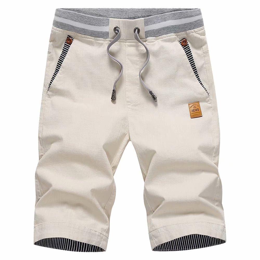 STICKON Men's Shorts Casual Classic Fit Drawstring Summer Beach Shorts with Elastic Waist and Pockets (Light Khaki, US 2XL=4XL)