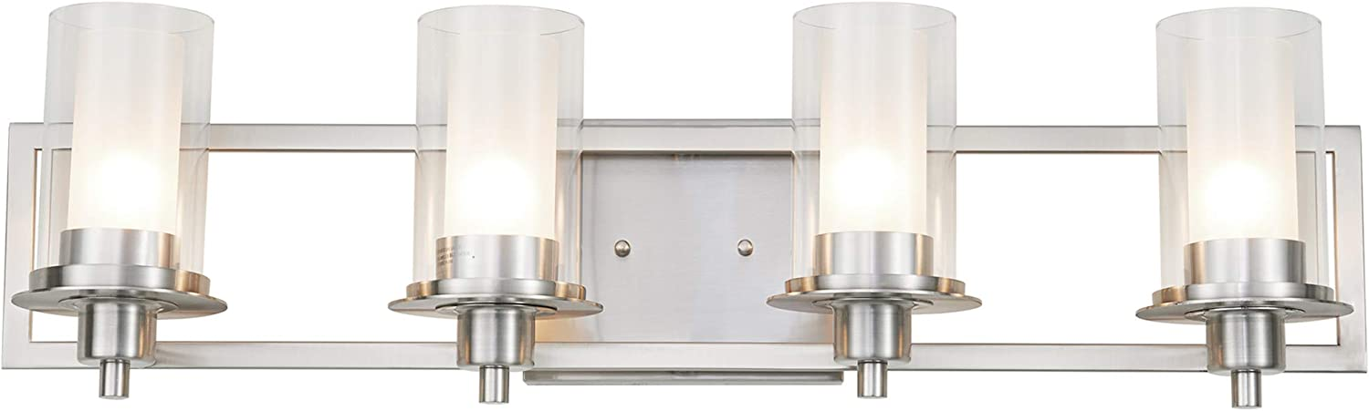Vanity Lights Kingbrite 30 Vanity Light Brushed Nickel 4 Light Fixture Clear And Frosted Glass Ul Listed Tools Home Improvement Becommerceth Com