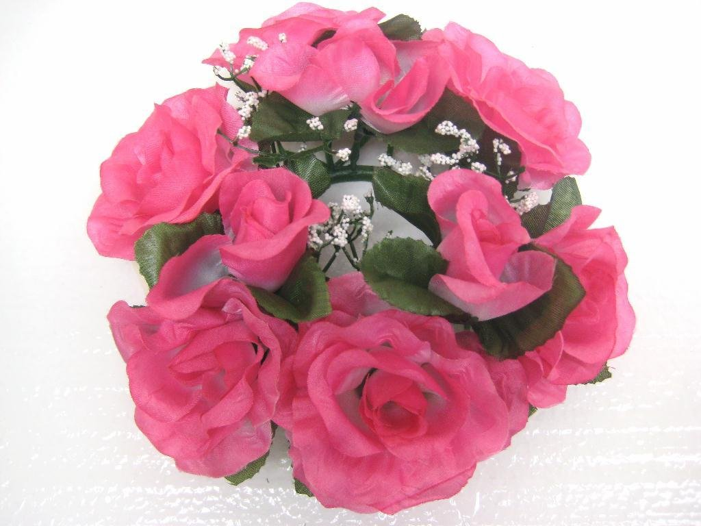 3-Candle-Rings-Rose-Center-Pieces-Artificial-Silk-Flowers-4005
