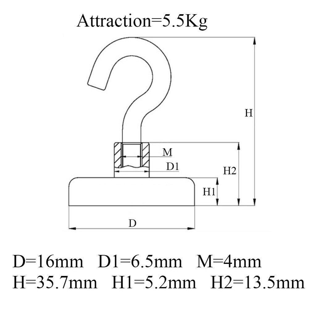 Pasway 10 Stück Magnethaken - Halter mit Traglast von 5.5 kg - Superstarke Magnete