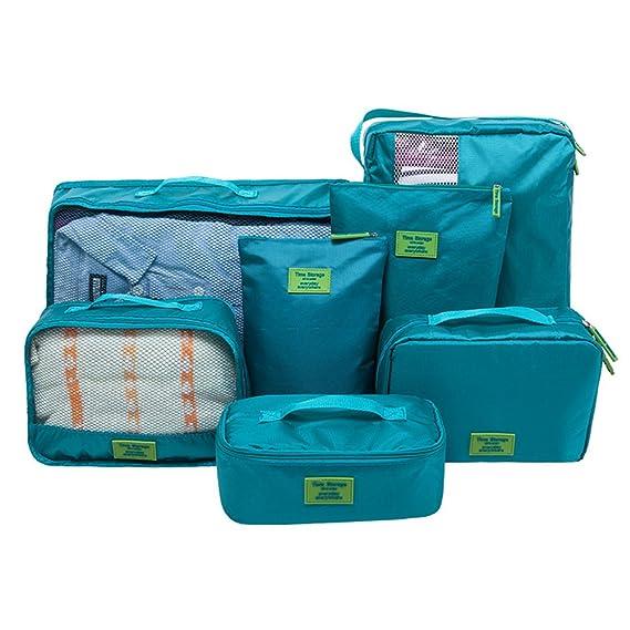 Belsmi 7 Set Packing Cubes With Shoe Bag - Compression Travel Luggage Organizer (Nylon 420D - Lake Green)
