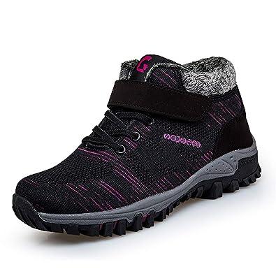 Zapatos De AlgodóN De Piel CáLida para Mujer De Invierno CuñAs Antideslizantes Casuales Look-Hoop Mujer High Top Lightweigh Soft Walking Sneakers: ...