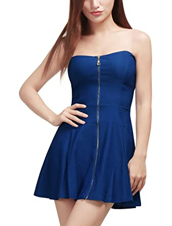 a8823a581494 Allegra K Women's Strapless Exposed Front Zipper Party Backless A-Line  Bodycon Mini Dress Blue