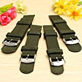 Energi8_sus Green 18MM NYLON CANVAS WRIST WATCH BAND STRAP MILITARY Army