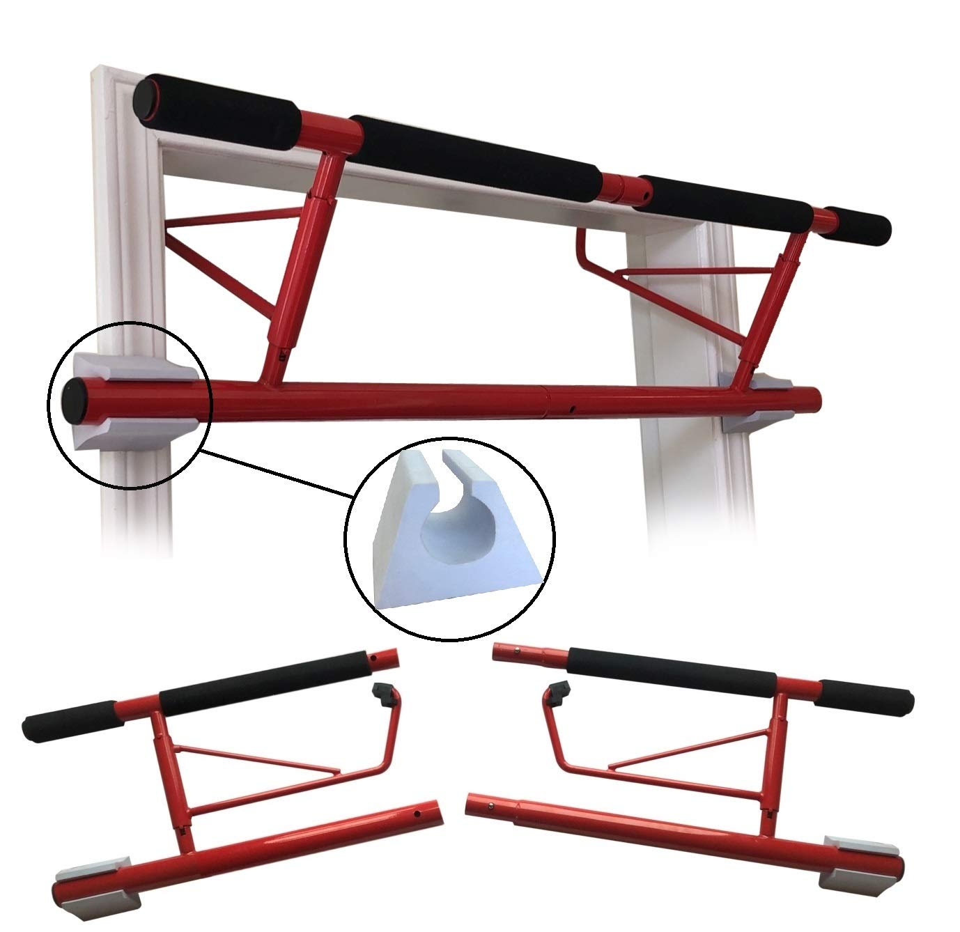 SHAMROCK TRIPLE GYM Ultimate Pull Up Bar, No Assembly Required, Folds Flat & Comes Apart for Travel Or Storage, USA Shipping and Warranty (Red)
