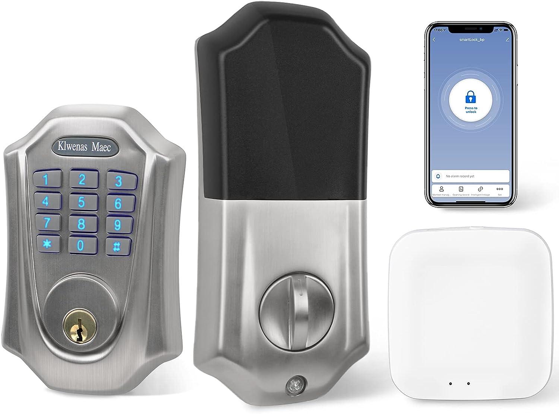 KlwenasMaec Security Smart Lock Keypad & Wi-Fi, Works with Alexa, Keyless Entry Door Lock, Smart Wi-Fi Lock, Bluetooth Electronic Deadbolt, TuyaSmart App, Home Front Door, Auto-Lock, IP65 Weatherproof