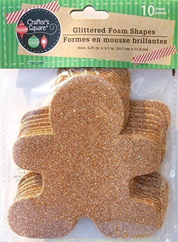 Glitter Holiday Christmas Gingerbread Man Crafting Foam Shapes - 10 Count (4.25