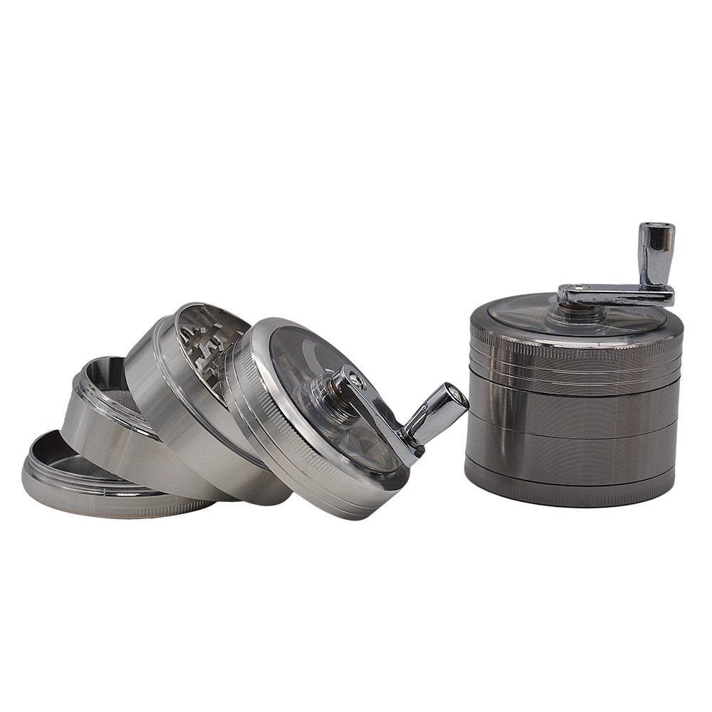 Grind Mill 4 Piece Herb Grinder - Crank Handle Pollen Catcher - Large 2.5 Inch metal Zinc alloy 106
